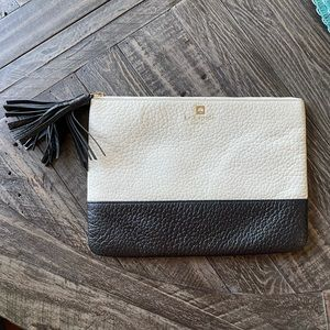 Kate Spade white/Black Leather small flat clutch